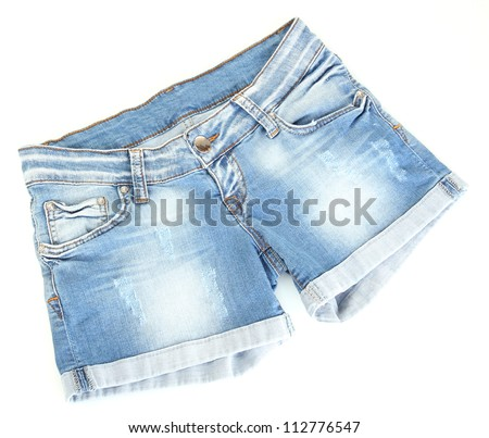 women jeans shorts isolated on white background