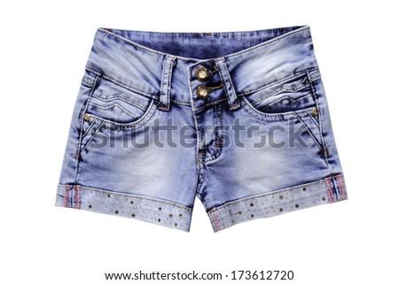 Women jeans shorts isolated on white background. - stock photo