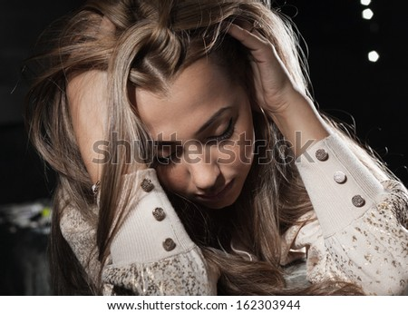 women laying outdoor night, closeup of the face - stock photo