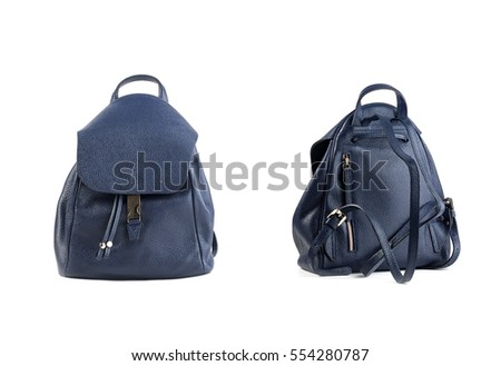 women leather backpacks isolated on white background