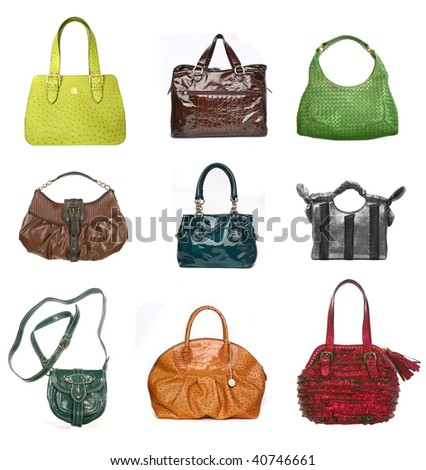 Women leather bags set isolated on white