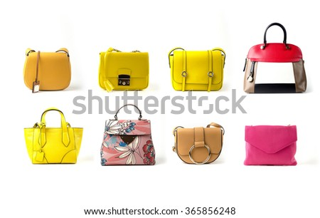women leather color handbags isolated on white background - stock photo