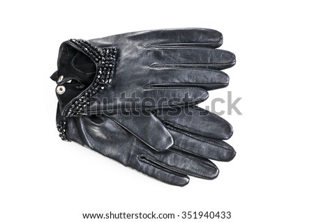 Women leather gloves on a white background.