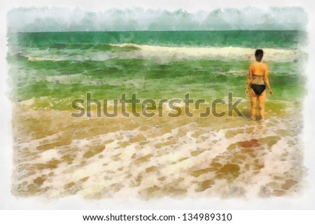 women near sea on seashore in coming surf watercolor painting with lot of copyspace - stock photo