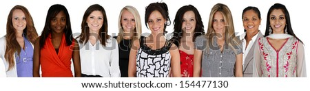 Women of all different races together on a white background - stock photo