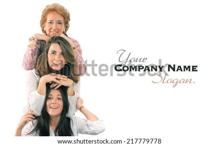 Women of three generations of the same family with lots of copy space - stock photo