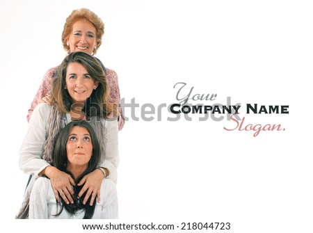 Women of three generations of the same family with lots of copy space