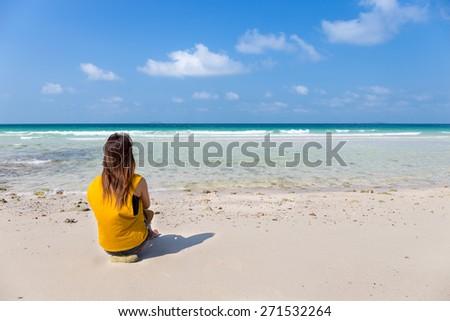 women on the beach, Koh larn Pattaya, Chonburi, Thailand - stock photo