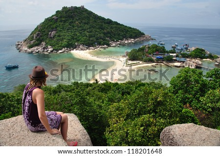 Women on the view point, famous island in south of Thailand - stock photo