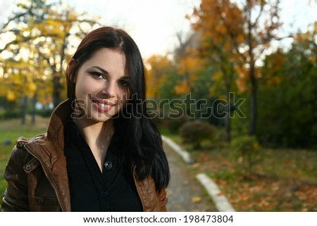 Women outdoors in fall time - stock photo
