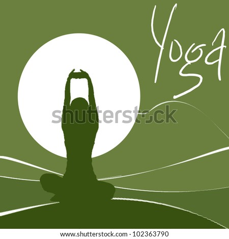 women perform the yoga - stock photo