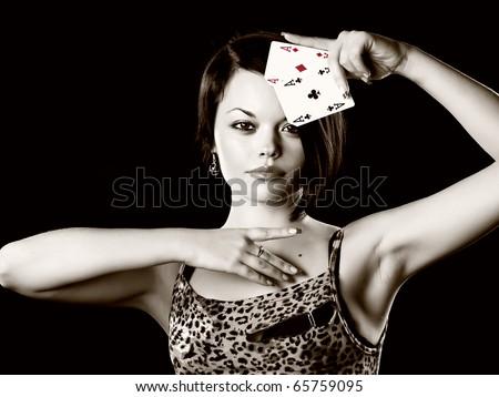 women play poker - stock photo