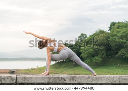 Women pose yoga exercise in meditation for healthy and control mind in good looking body