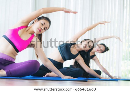 people group doing fitness exercise stock photo 54295021