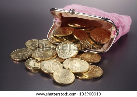 Women  purse filled up  with coins