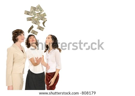 women reach for money from above isolated on white with copy space - stock photo