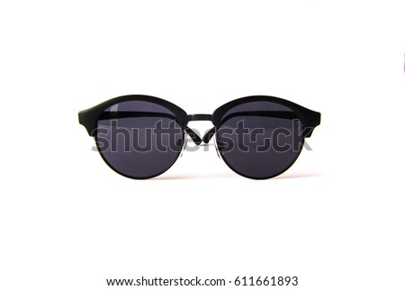 women round sunglasses isolated on white