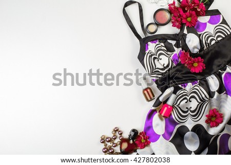 Women's accessories and cosmetics. Top view photo of colorful and glamour objects with free space for logo - stock photo