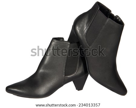 Women's autumn ankle boots black zip average heels, one pair of isolated white background