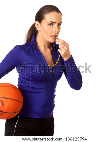 Women's basketball coach. Studio shot over white. - stock photo