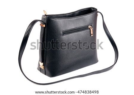 Women's black leather bag isolated on white