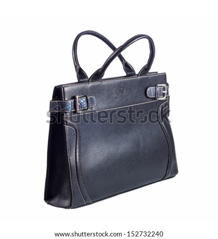 Women's black leather bag on white background