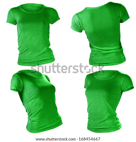 women's blank green t-shirt, front and back design template