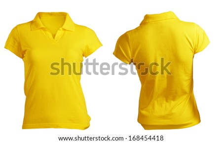 Women's Blank Yellow Polo Shirt, Front and Back Design Template - stock photo