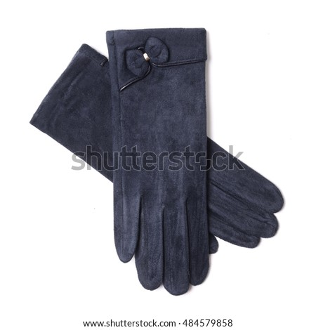 women's blue gloves isolated on white