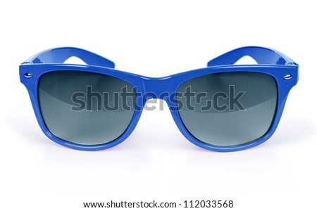 Women's blue sunglasses isolated on white