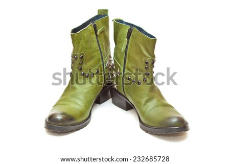 Women's boots green, isolated on white background. cowboy style  - stock photo