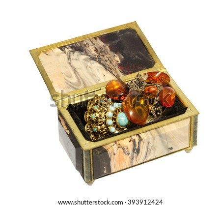 women's  box is made of beautiful stone for jewelry storage