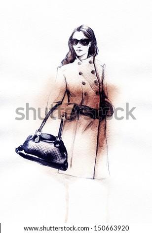 Women's coats. Autumn style . Hand painted fashion illustration - stock photo