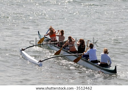 Women's Crew Team Training In The Pacific Ocean