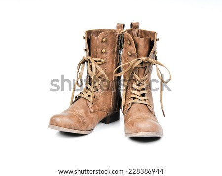 Women's Fashionable Lace-up Boots. Front view