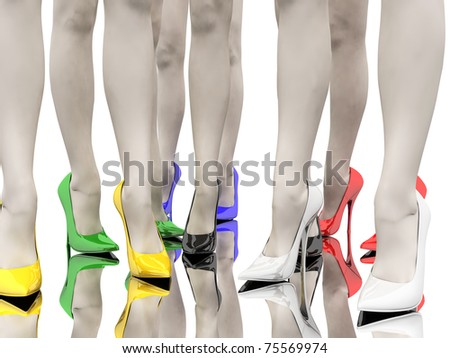 Women's feet in the colored stiletto on the smooth floor - stock photo