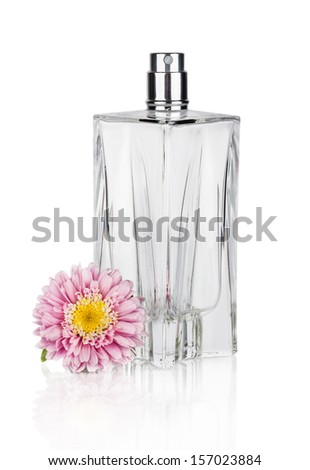 Women's  flower perfume in beautiful bottle isolated on white background