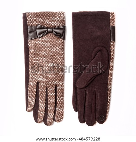 women's gloves isolated on white
