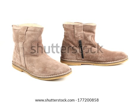 Women's gray boots  isolated on white background