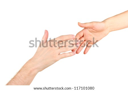 Women's hand goes to the man's hand on white background