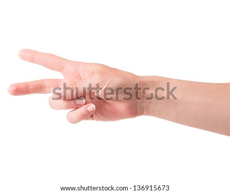 women's hand isolated on the white background