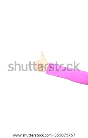 Women's hand showing a thumb up gesture. Isolated on white background. Like. Alpha.