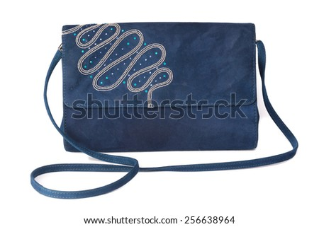 Women's handbag made �¢??�¢??of blue suede on a white background.