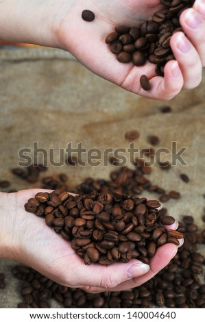 Women's hands hold roasted coffee beans  close up - stock photo