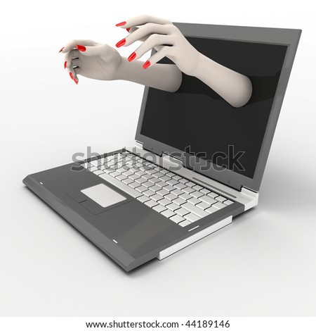 Women's hands, leaning out of the monitor
