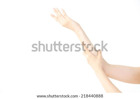 Women's hands on isolated a white background - stock photo