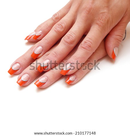 Women's hands with a colored nail polish isolated - stock photo