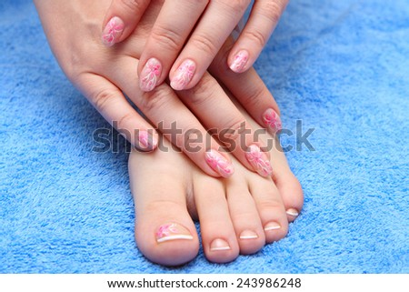 Women's hands with a nice manicure - stock photo