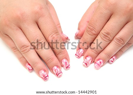 Women's hands with the figure at kasivymi nails manicure