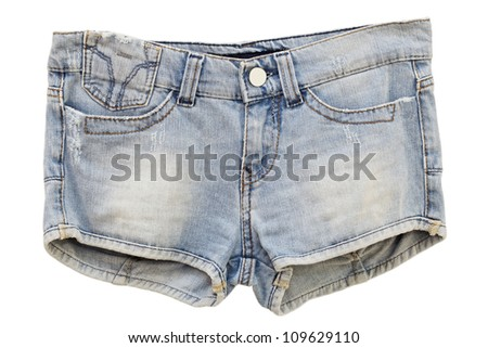 Women's Jeans Shorts on a white background - stock photo